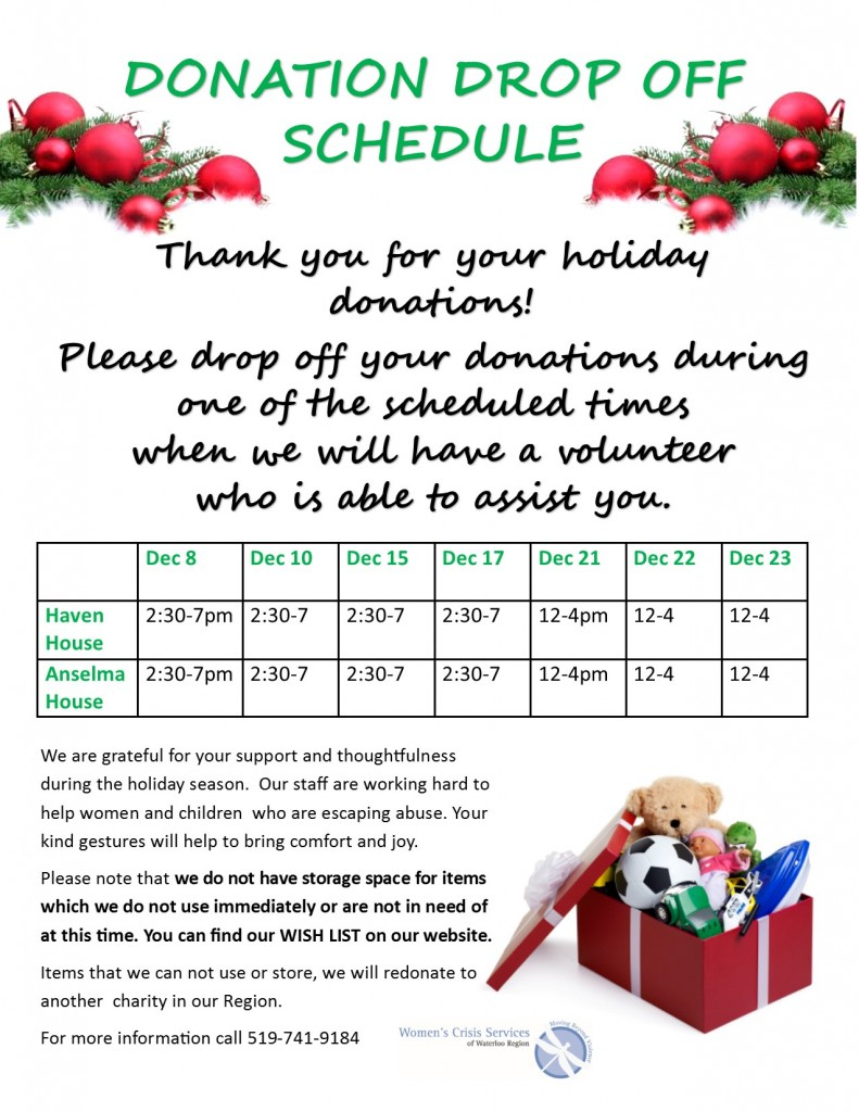 Holiday Donation Drop Off Schedule Poster