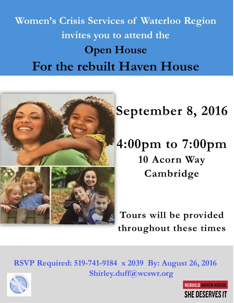 Haven House Open House invitation  Sept 8 2016